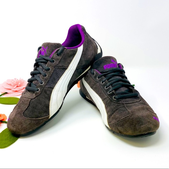 Puma Women's Suede Grey and Purple Cat Shoes, S-8